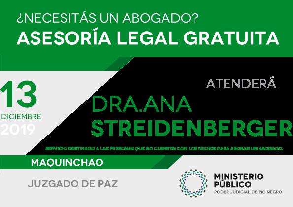13 de Diciembre – Asesoramiento legal gratuito en Maquinchao