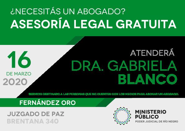 Defensora pública brindará asesoramiento gratuito en Fernández Oro