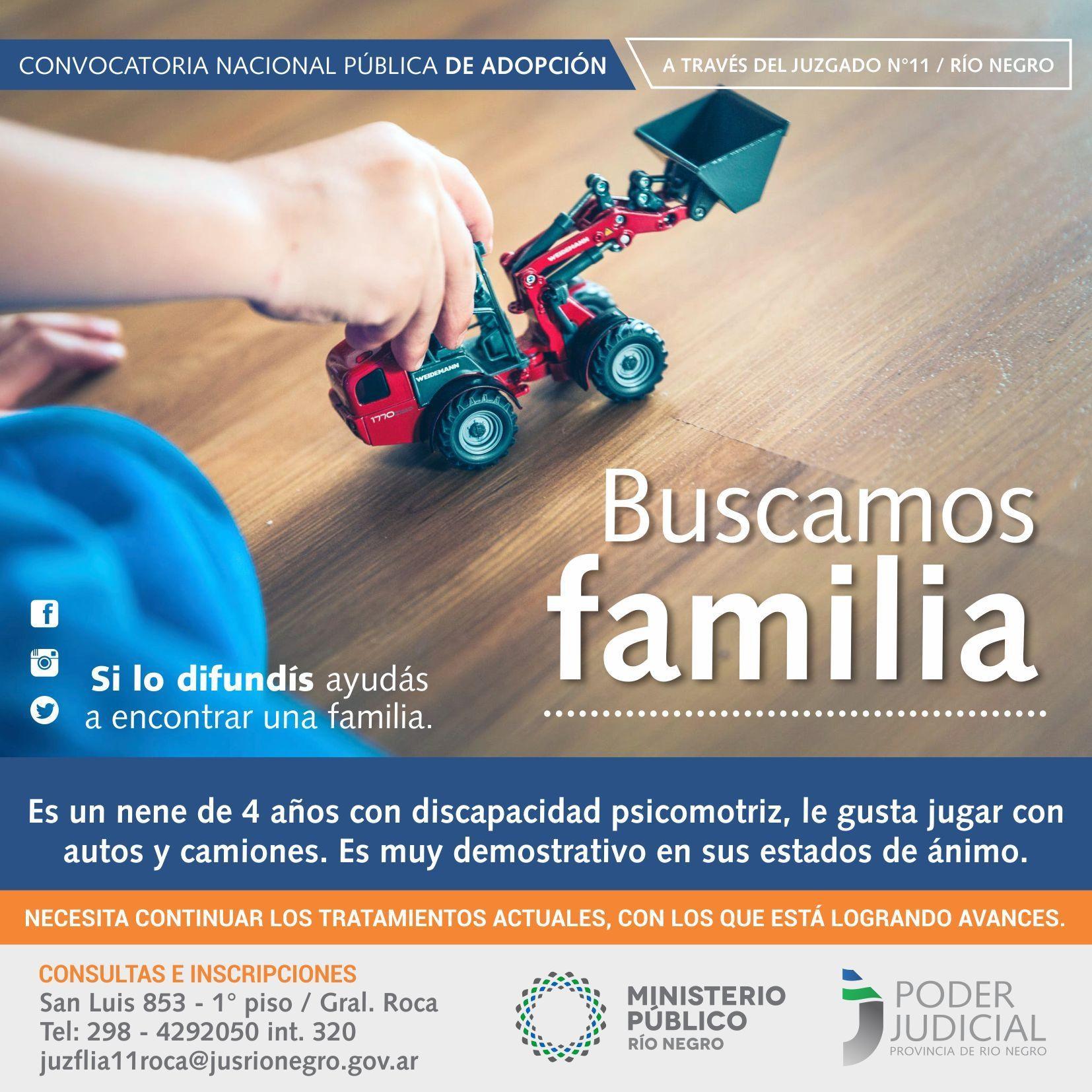 Convocatoria pública nacional de adopción: buscamos familia para un niño de 4 años