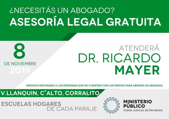La defensa pública visitará los establecimientos educativos de Villa Llanquín, Cerro Alto y Corralito