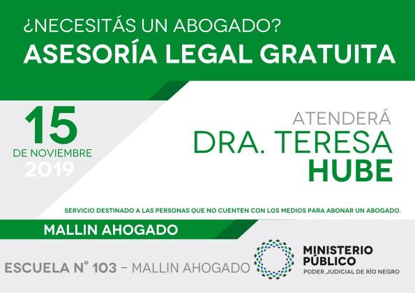 15 de noviembre, asesoramiento legal gratuito enMallínAhogado