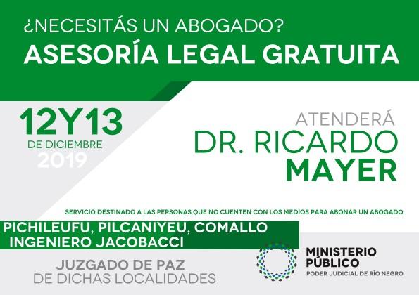 Asesoramiento legal gratuito enPichileufu, Pilcaniyeu, Comallo e Ingeniero Jacobacci