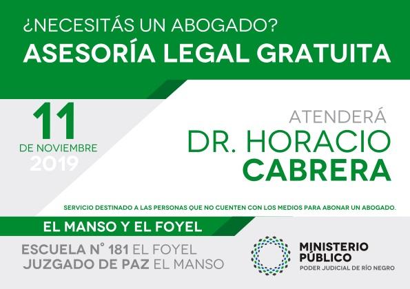 Modificación de horarios para asesoramiento legal gratuito en El Foyel y El Manso